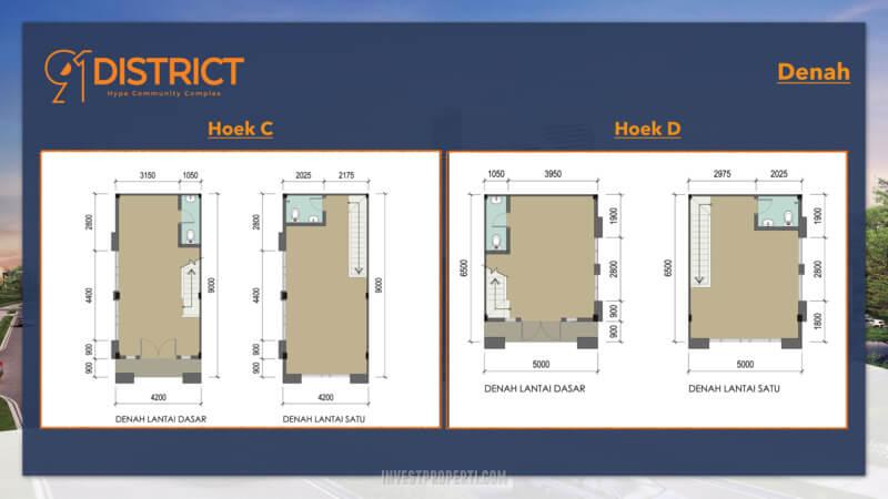 Denah Ruko 91 District BSD Tipe Hoek C & D