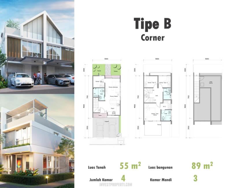 Denah Rumah Duo Residence Tipe B Corner