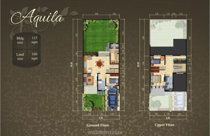 Denah Rumah Cluster Cempaka Suvarna Sutera Tipe Aquila