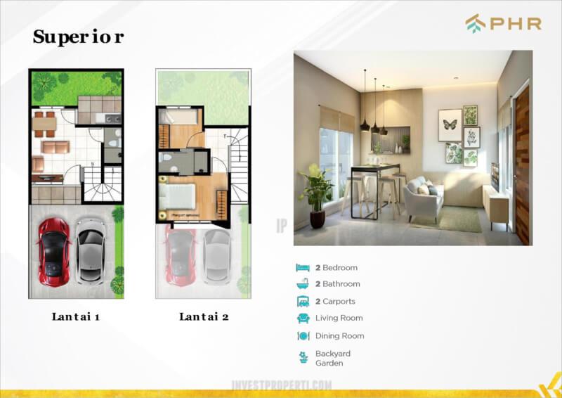 Denah Rumah Vittore PHR Bekasi Tipe Superior