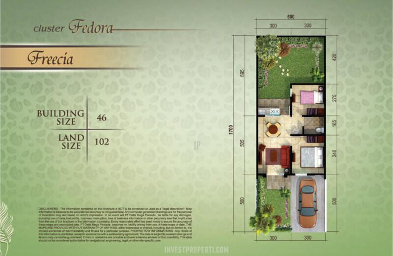 Denah Rumah Cluster Flamboyan Suvarna Sutera Tipe Freecia