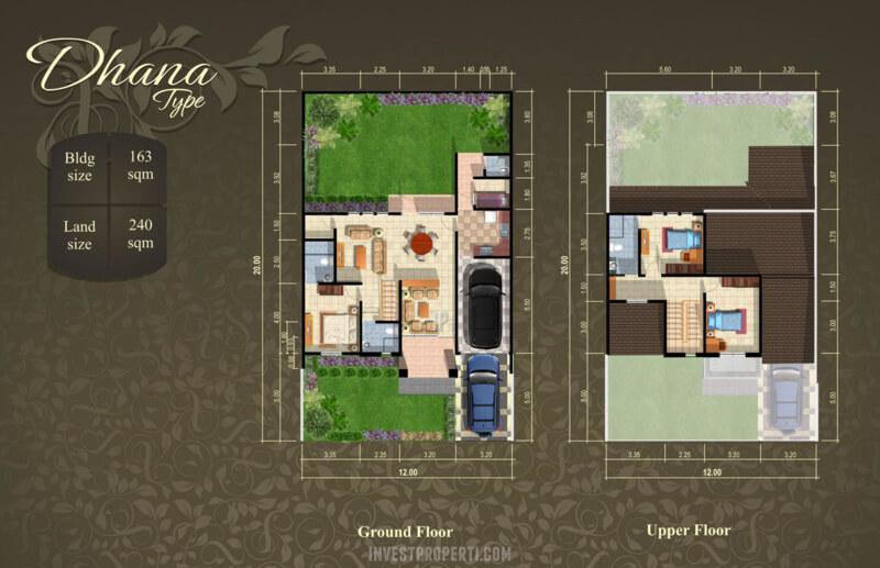 Denah Rumah Cluster Cempaka Suvarna Sutera Tipe Dhana