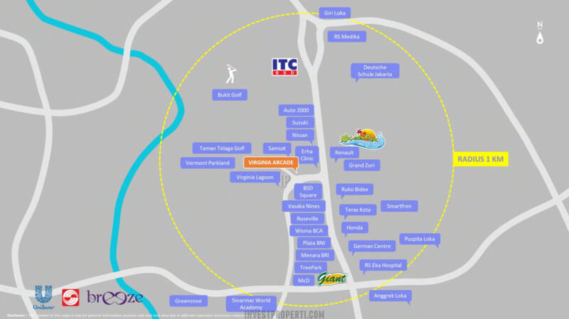 Lokasi Ruko Virginia Arcade BSD - Radius 1 km