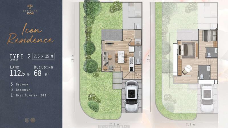 Denah Rumah Cendana Icon Tipe Icon Residence Sudut