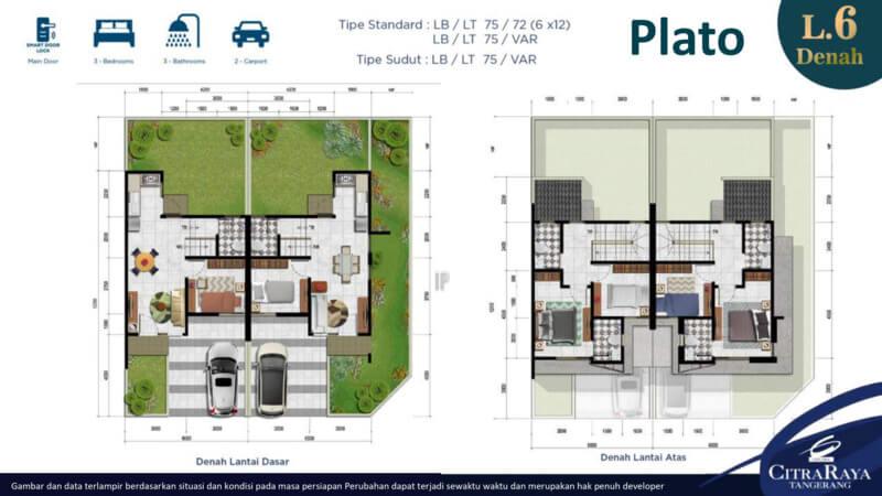 Plato - Denah Rumah Pavilion Residence CitraRaya
