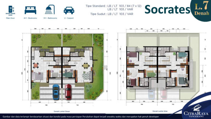 Socrates - Denah Rumah Pavilion Residence CitraRaya