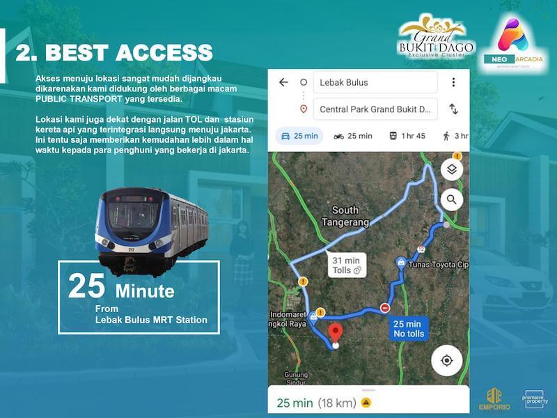 Jarak Grand Bukit Dago Bogor ke Lebak Bulus MRT