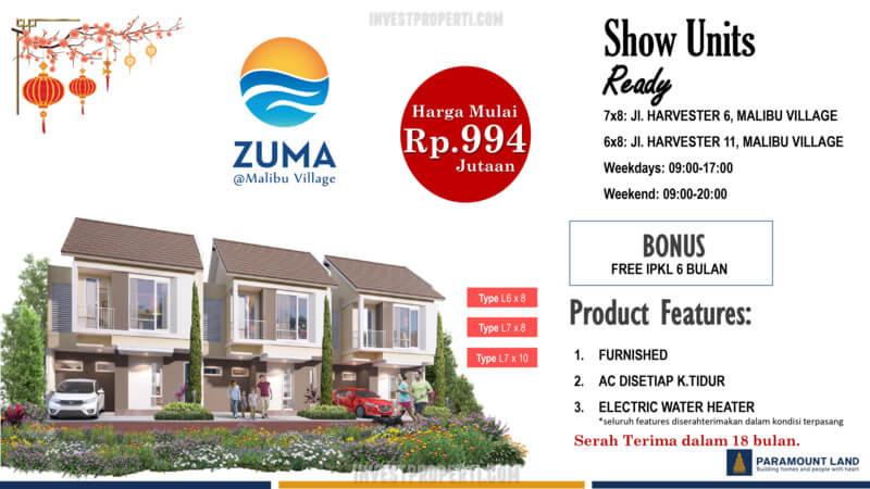 Promo Rumah Zuma Malibu Village 2021