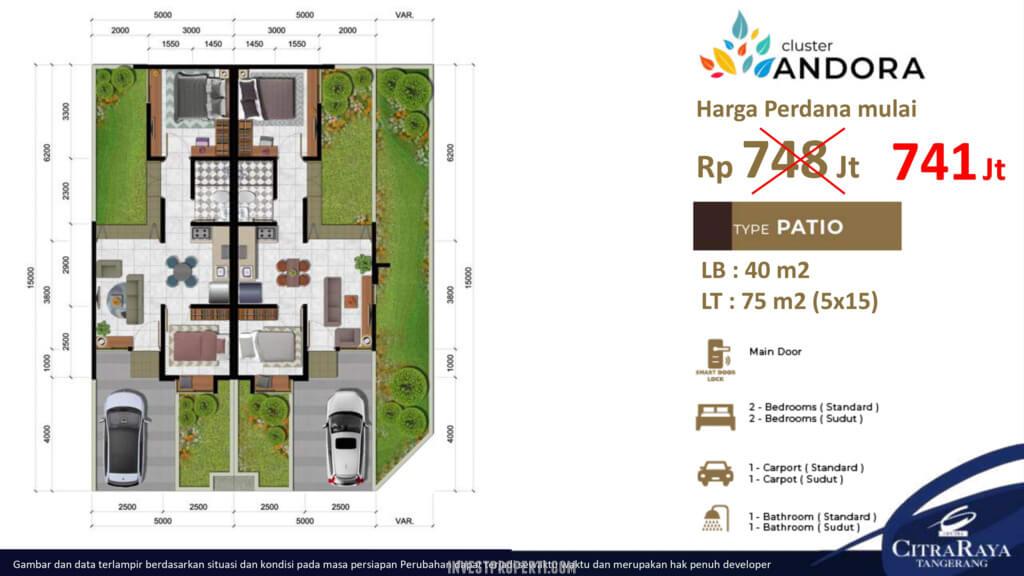Denah Rumah Andora CitraRaya Tipe 75 Std
