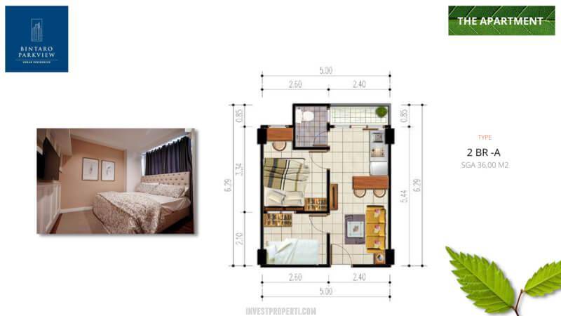 Denah 2 BR-A Bintaro ParkView Apartemen