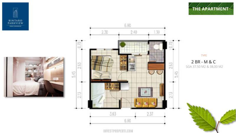 Denah 2 BR-M&C Bintaro ParkView Apartemen