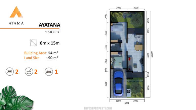 Denah Rumah Ayama Bhumi Amala Tangerang Tipe Ayatana