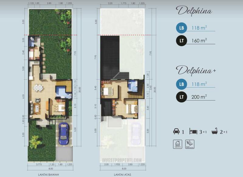 Denah Rumah Delphina Suvara Sutera - Cluster Daru