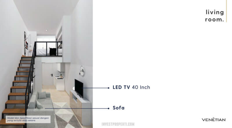 Furniture Living Room Apartemen Venetian Serpong Tipe Loft C-D