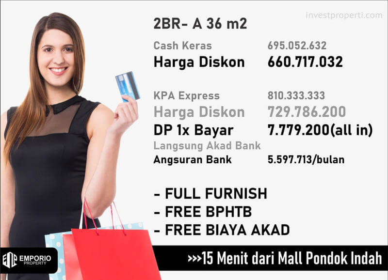 Harga Apartemen Bintaro ParkView Jakarta Tipe 2BR-A