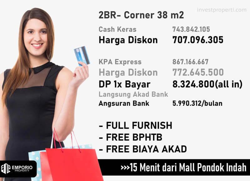 Harga Apartemen Bintaro ParkView Jakarta Tipe 2BR-C
