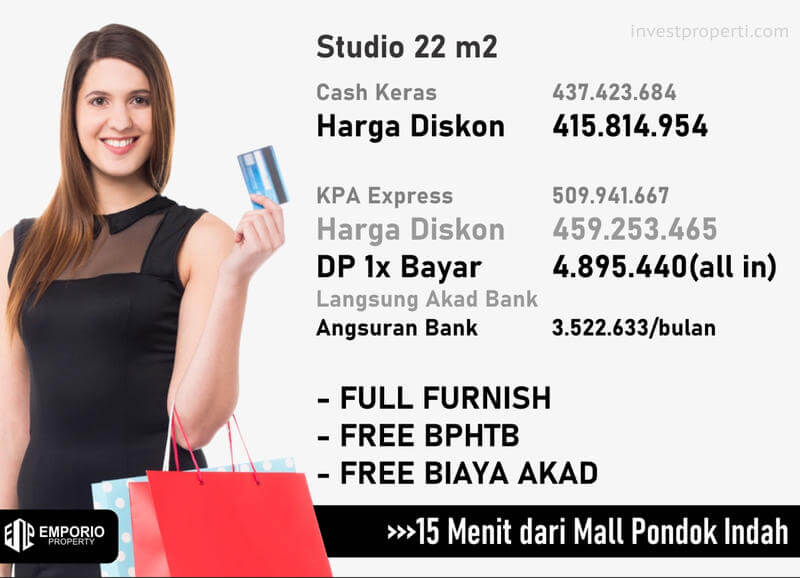 Harga Apartemen Bintaro ParkView Jakarta Tipe Studio