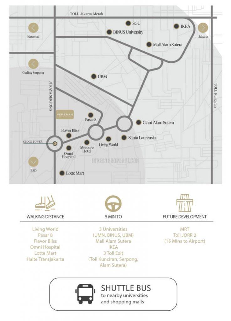 Peta Lokasi The Venetian Serpong