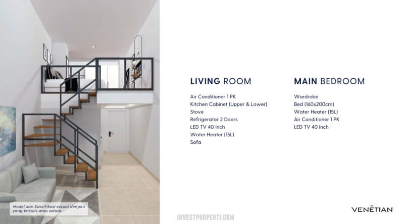 Spek Furniture Apartemen Venetian Serpong Tipe Loft C-D