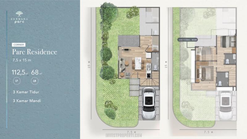 Denah Rumah Cendana Parc Tipe Parc Residence Sudut - Add Room