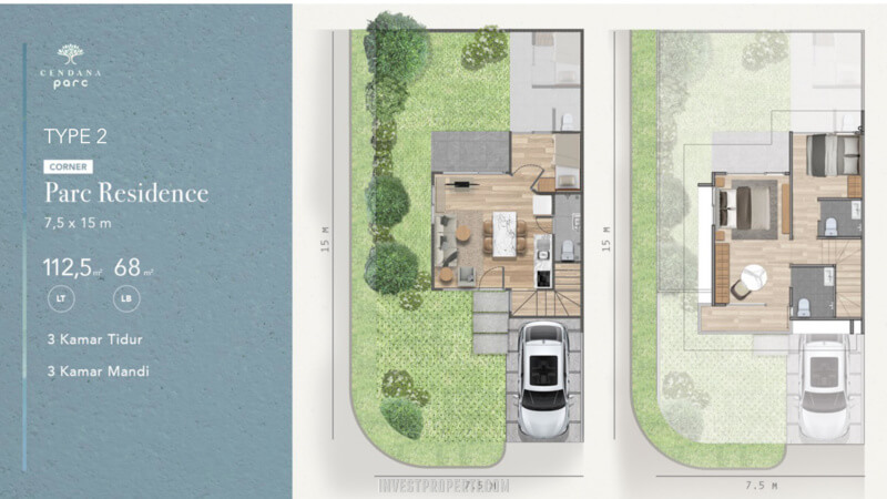 Denah Rumah Cendana Parc Tipe Parc Residence Sudut