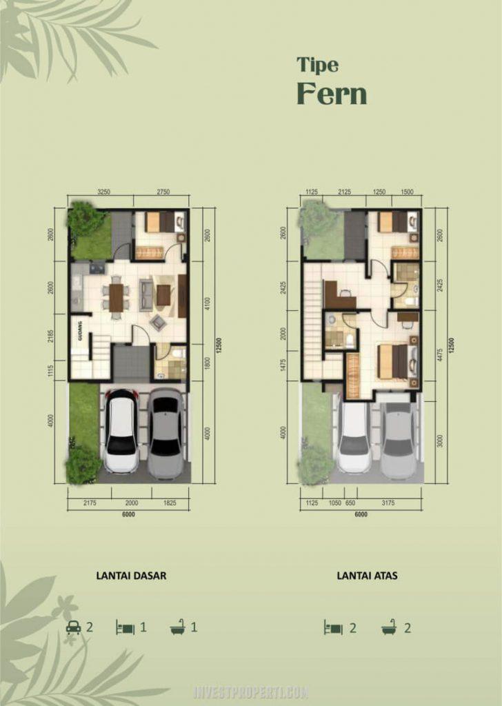 Denah Rumah Fedora Park Suvarna tipe Fern