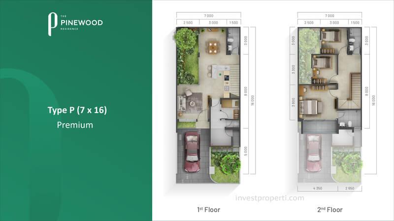 Denah Rumah Pinewood Sumbog Tipe 7x16