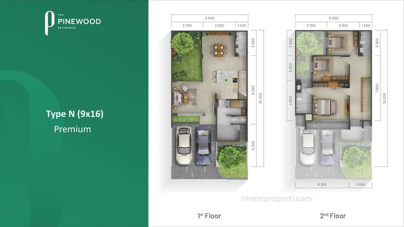 Denah Rumah Pinewood Sumbog Tipe 9x16