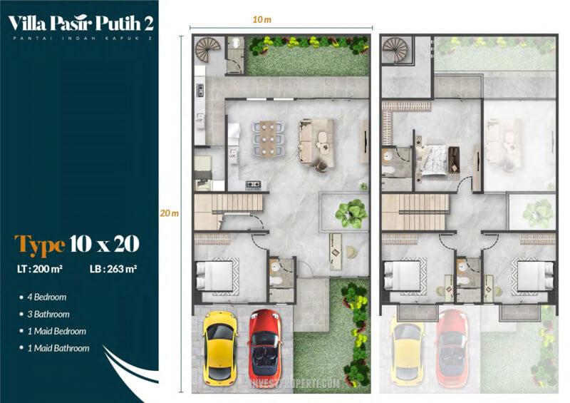 Denah Villa Pasir Putih 2 PIK2 Jakarta Tipe Cendana