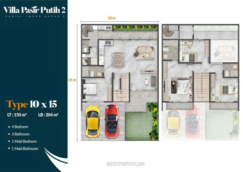 Denah Villa Pasir Putih 2 PIK2 Jakarta Tipe Eboni