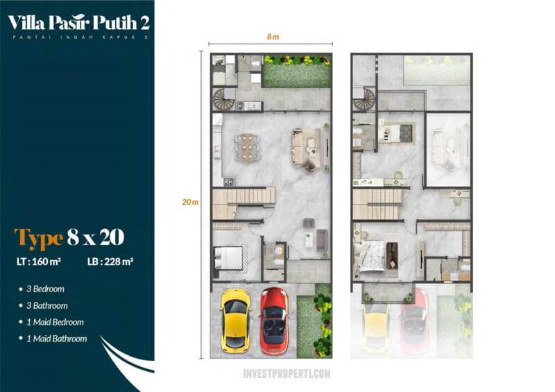 Denah Villa Pasir Putih 2 PIK2 Jakarta Tipe Jati