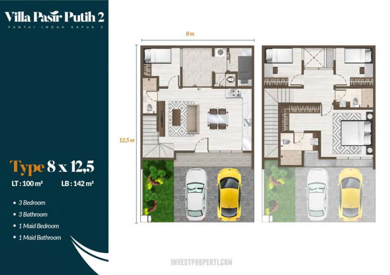 Denah Villa Pasir Putih 2 PIK2 Jakarta Tipe Mahogani