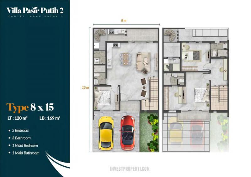 Denah Villa Pasir Putih 2 PIK2 Jakarta Tipe Meranti