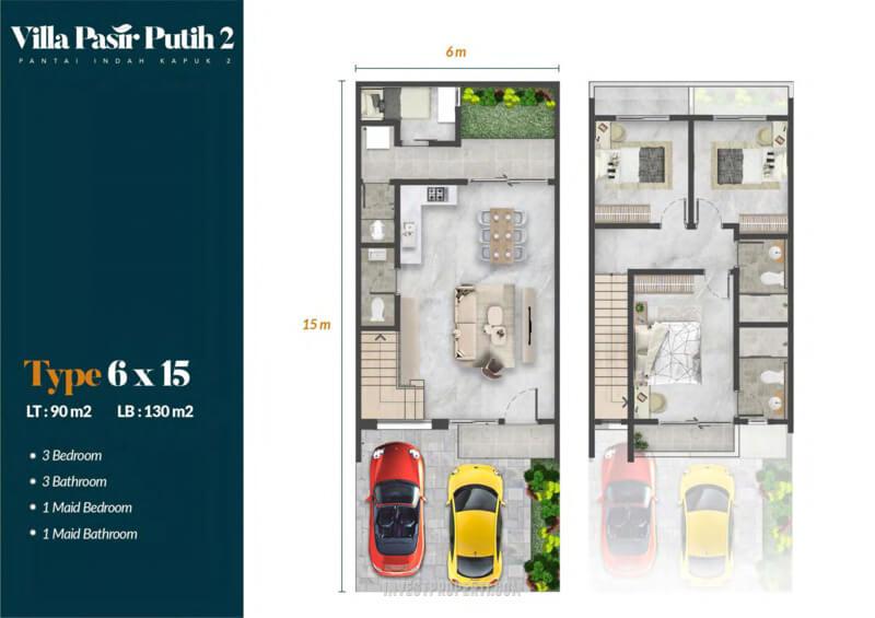 Denah Villa Pasir Putih 2 PIK2 Jakarta Tipe Pinus