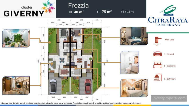 Denah Rumah Frezzia Cluster Giverny CitraRaya