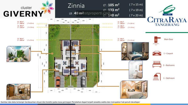 Denah Rumah Zinnia Cluster Giverny CitraRaya