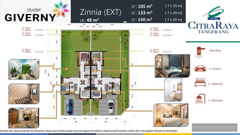 Denah Rumah Zinnia Ext Cluster Giverny CitraRaya