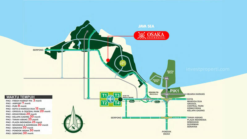 Peta Lokasi Osaka Residence PIK 2