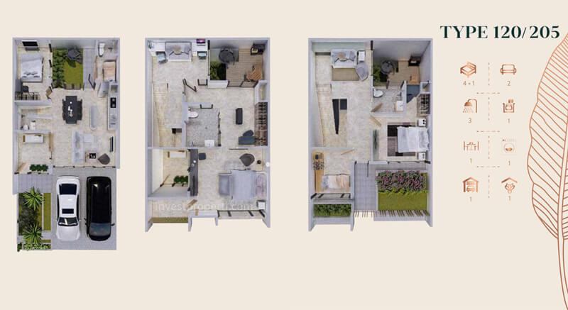Denah Rumah Anwa Residence Puri Tipe 120