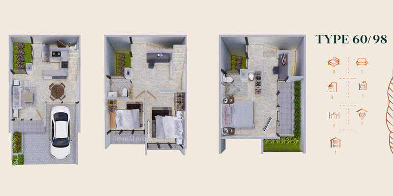 Denah Rumah Anwa Residence Puri Tipe 60