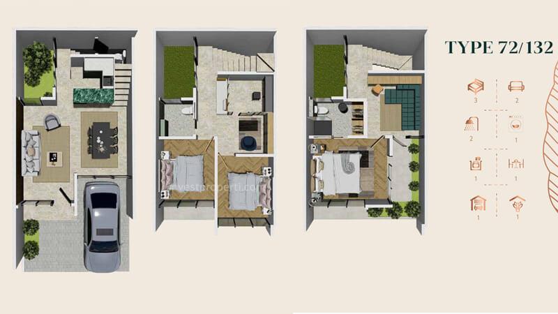 Denah Rumah Anwa Residence Puri Tipe 72