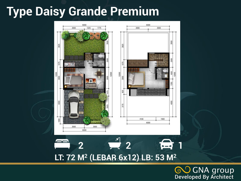 Denah Rumah Golden Flower Legok Tipe Daisy Grande Premium