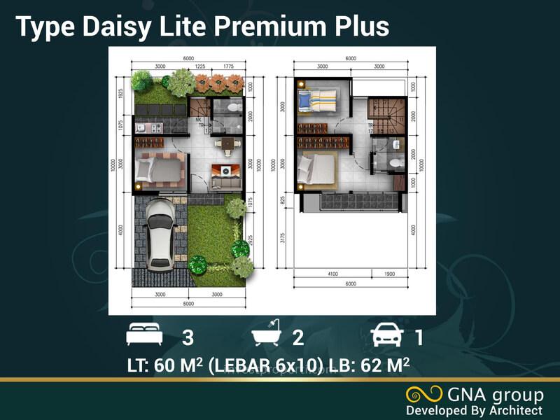 Denah Rumah Golden Flower Legok Tipe Daisy Lite Premium Plus