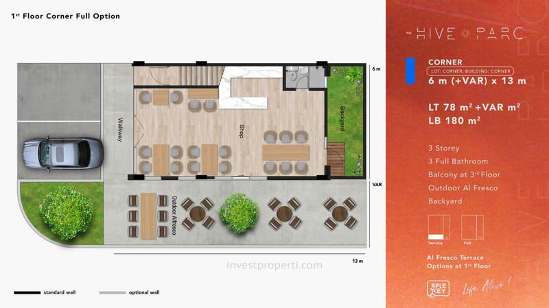 Denah Ruko Hive Parc Tipe Corner Lantai 1 - Opsi FULL
