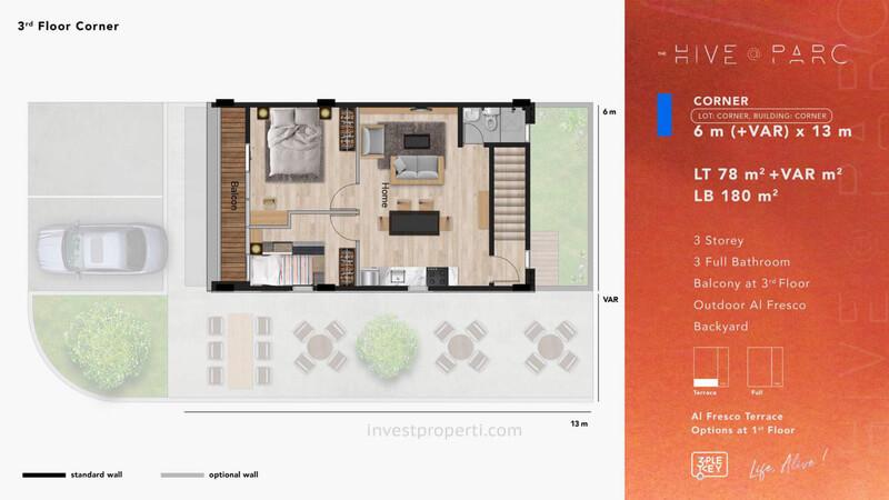 Denah Ruko Hive Parc Tipe Corner Lantai 3