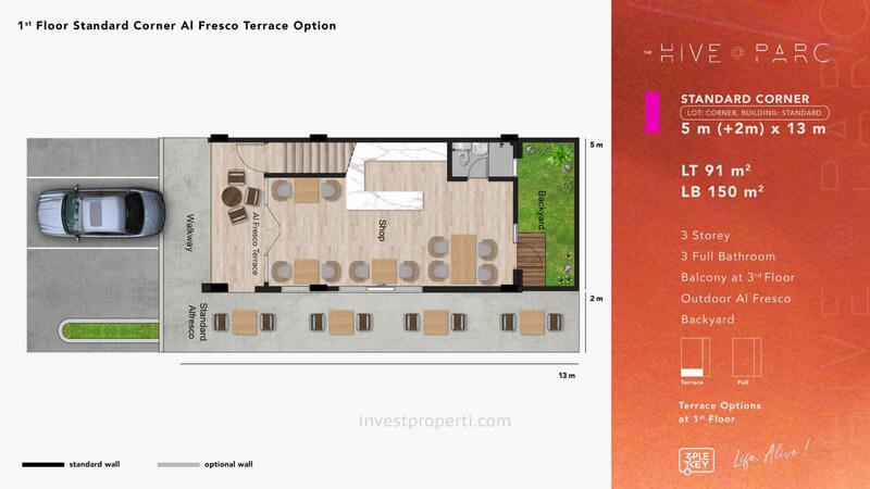 Denah Ruko Hive Parc Tipe Standard Corner Lantai 1 - Opsi Al Fresco