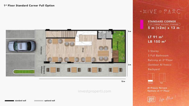 Denah Ruko Hive Parc Tipe Standard Corner Lantai 1 - Opsi Full