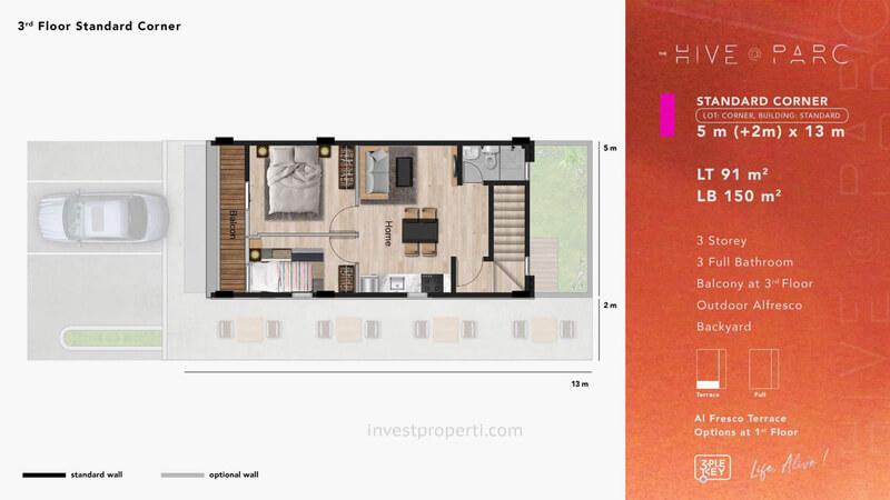 Denah Ruko Hive Parc Tipe Standard Corner Lantai 3