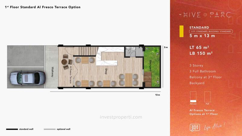 Denah Ruko Hive Parc Tipe Standard Lantai 1 - Opsi Alfresco Terrace