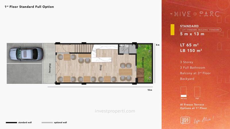 Denah Ruko Hive Parc Tipe Standard Lantai 1 - Opsi Full